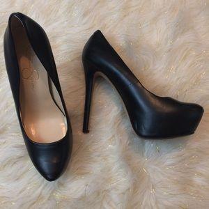 Black platform high heels pinup style 8.5